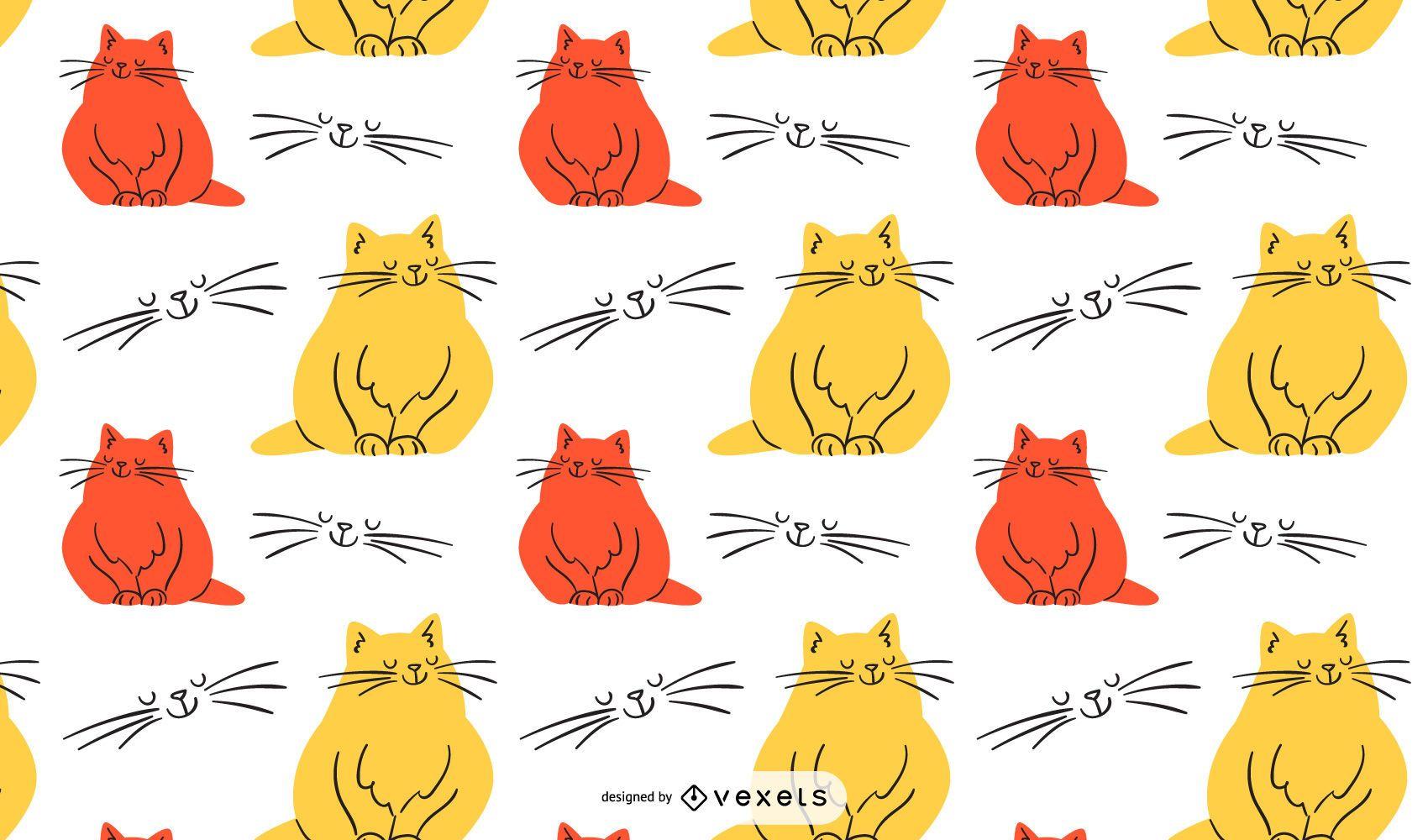 Diseño de patrón de ilustración de gato colorido