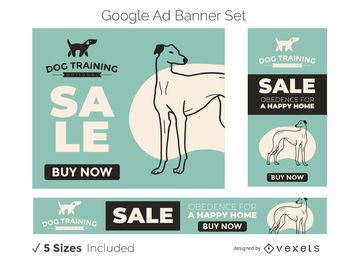 Conjunto de banner para anúncios do Google Training para cães