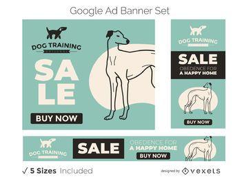 Conjunto de banners do Google Ads para treinamento de cães