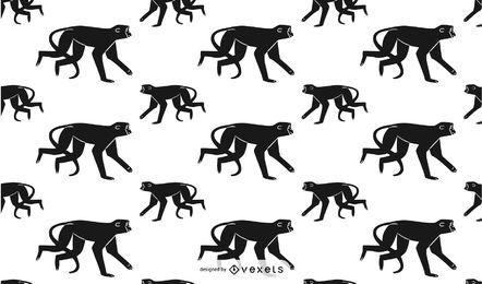 Desenho de padrão de silhueta de macaco