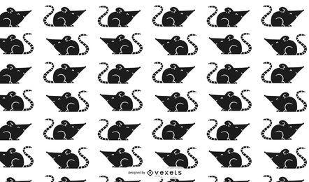 Desenho de padrão de silhueta de rato