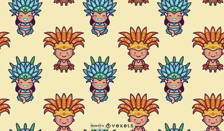 Padrão de caracteres de carnaval brasileiro de Chibi