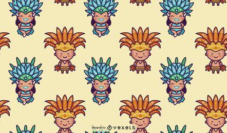 Patrón de caracteres del carnaval brasileño Chibi