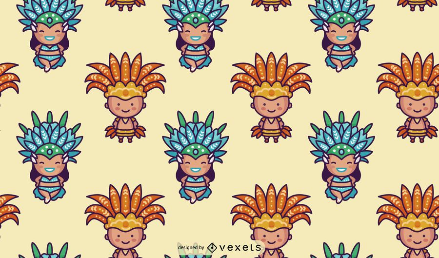 Chibi Brazilian Carnival Character Pattern