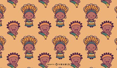 Diseño de patrón de personajes brasileños lindos