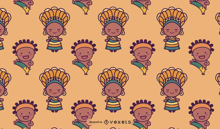 Cute Brazilian Characters Pattern Design