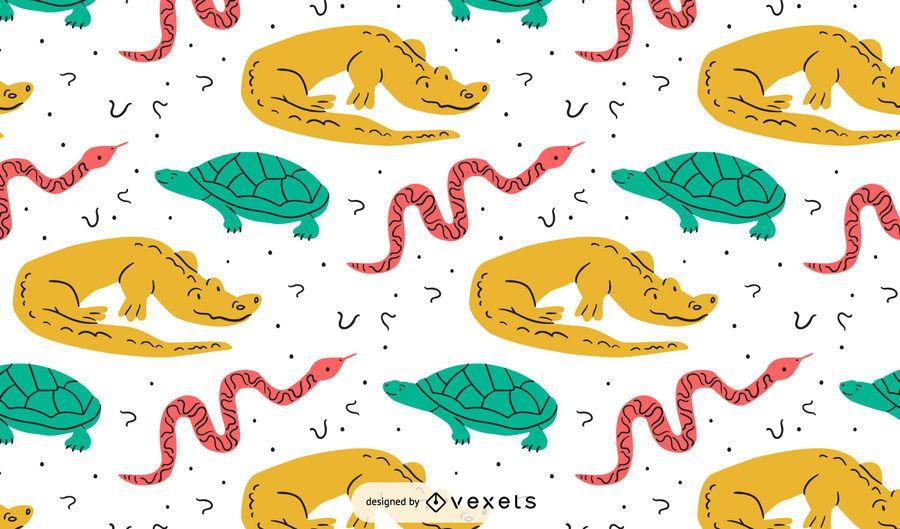 Colorful reptiles pattern design