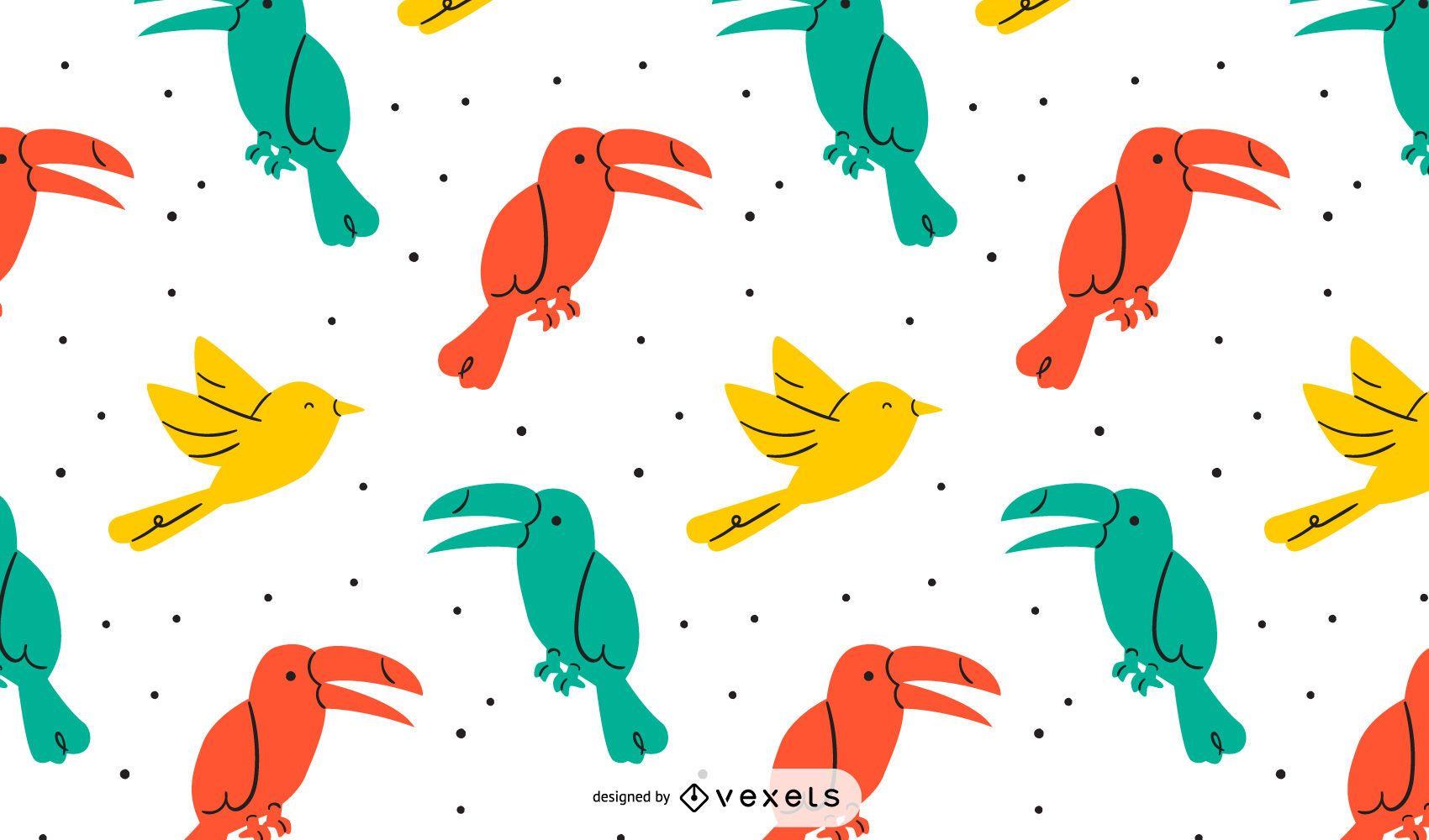 Diseño de patrón de pájaros coloridos