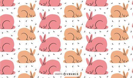 Diseño de patrón de conejitos rosados