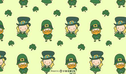 Padrão Tileable de personagens fofinhos irlandeses