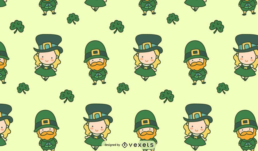 Patrón enlosable de personajes lindos irlandeses