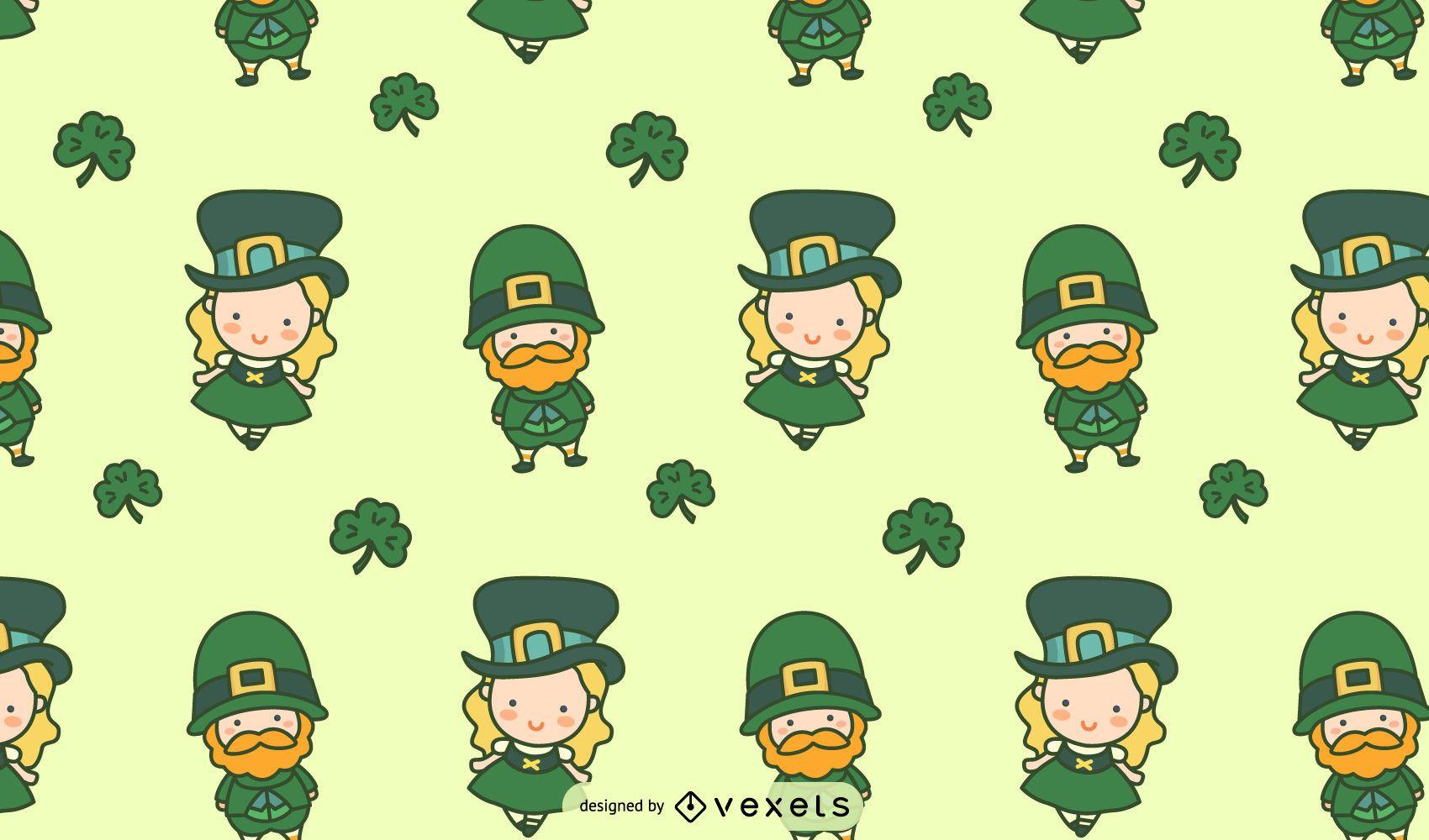 Irish Cute Characters Tileable Pattern