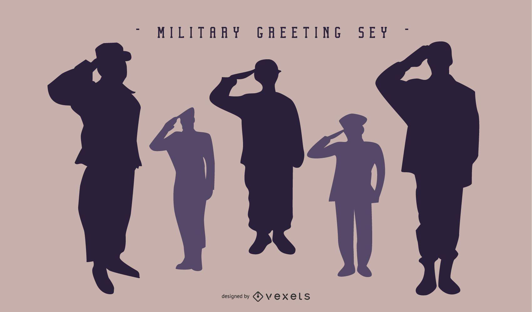 Conjunto de silueta de saludo militar