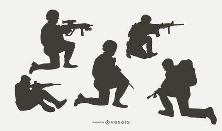 Militärs im Kampf-Schattenbild-Satz