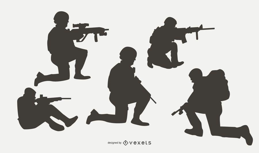 Conjunto de silueta de personas militares en combate