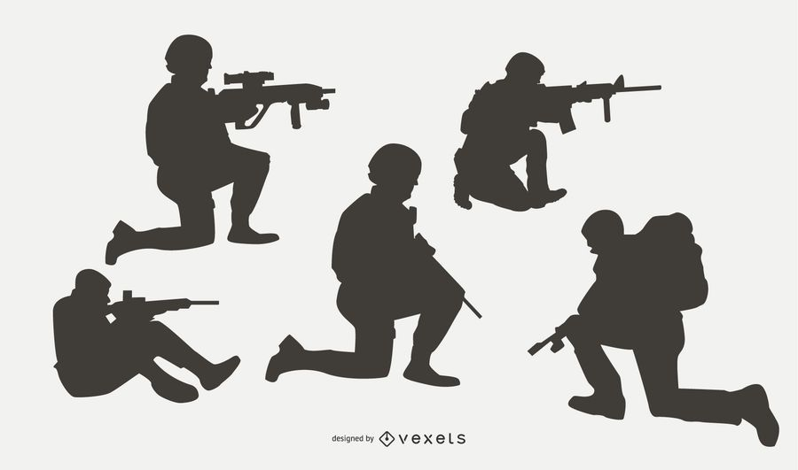 Military People in Combat Silhouette Set