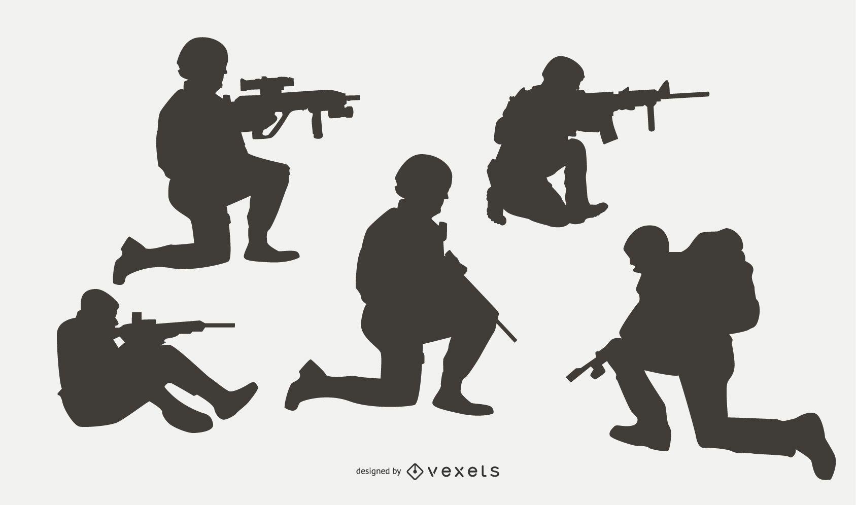 Conjunto de silueta de militares en combate