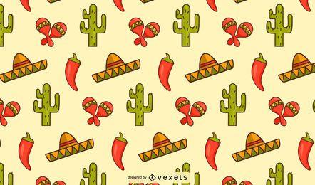Design de padrão de elementos mexicanos