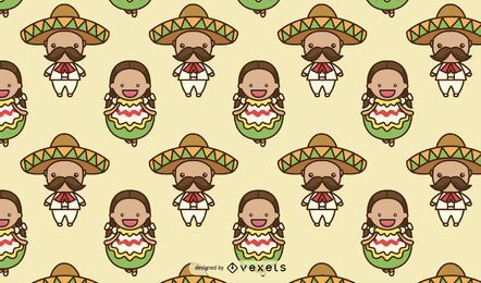 Design de padrão de personagens fofinhos mexicanos
