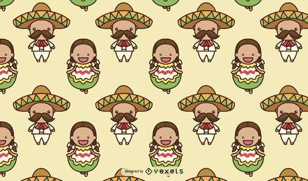 Diseño de patrón de personajes lindos mexicanos