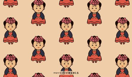 Cute Mexican Girl Pattern Design