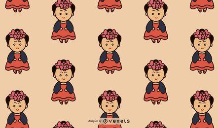 Diseño de patrón de linda chica mexicana
