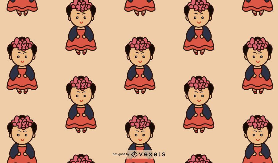 Cute Mexican Girl Pattern Design