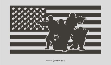 Diseño de silueta de gente militar de bandera de Estados Unidos