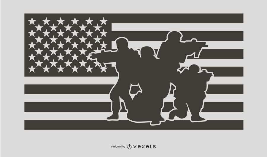 USA Flag Military People Silhouette Design
