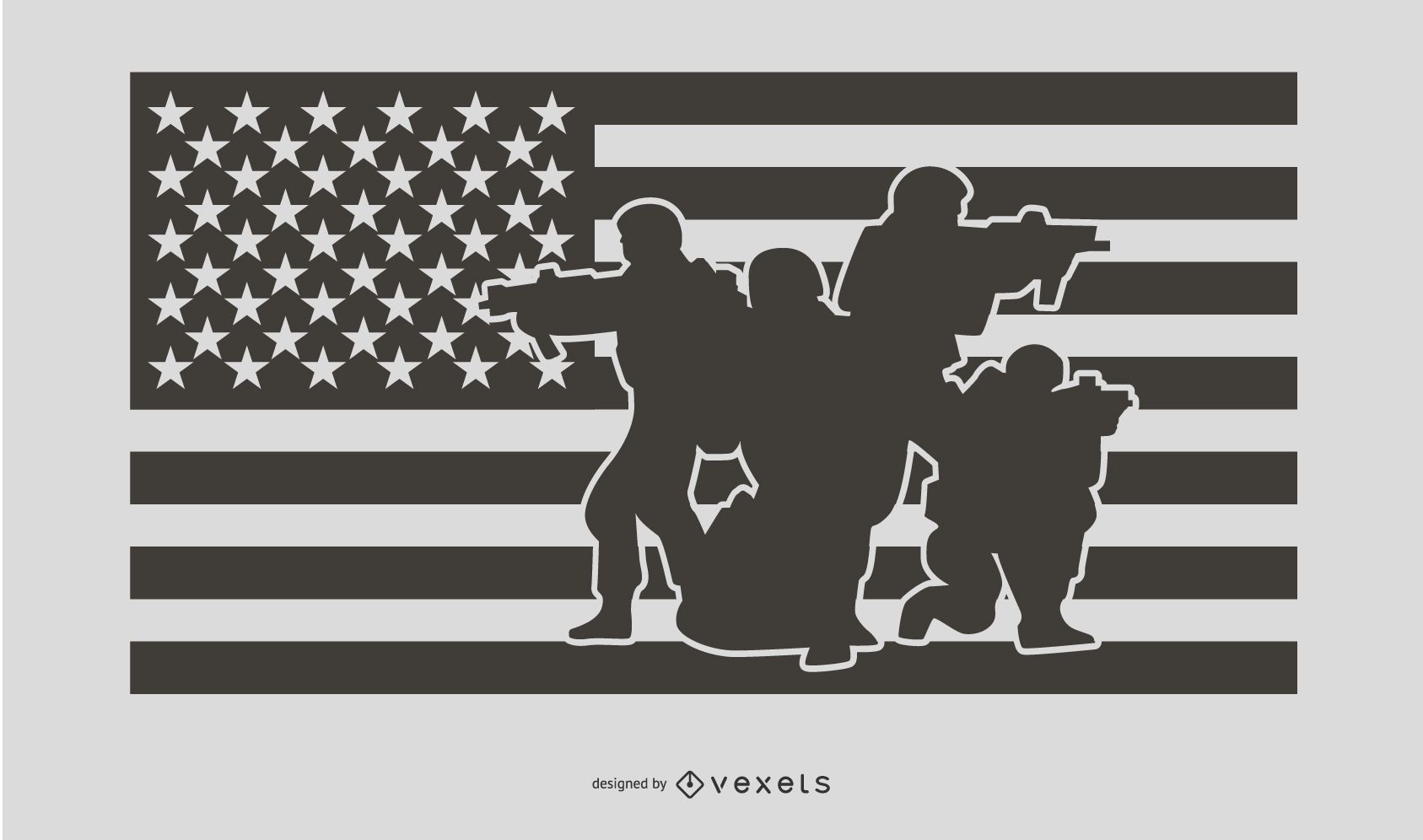 USA Flag Military People Silhouette Design