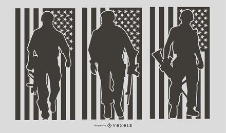 Conjunto de silueta de gente militar estadounidense