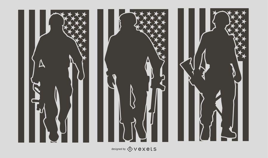 Conjunto de silhueta de pessoas militares dos EUA