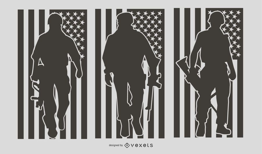 US Military People Silhouette Set