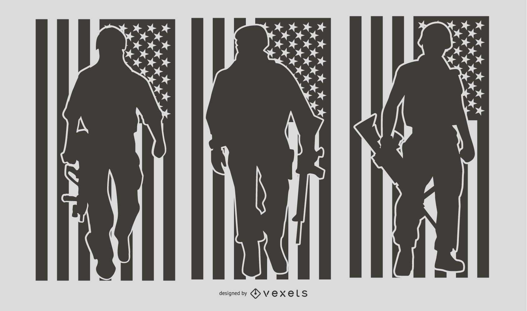 US Military People Silhouette Set