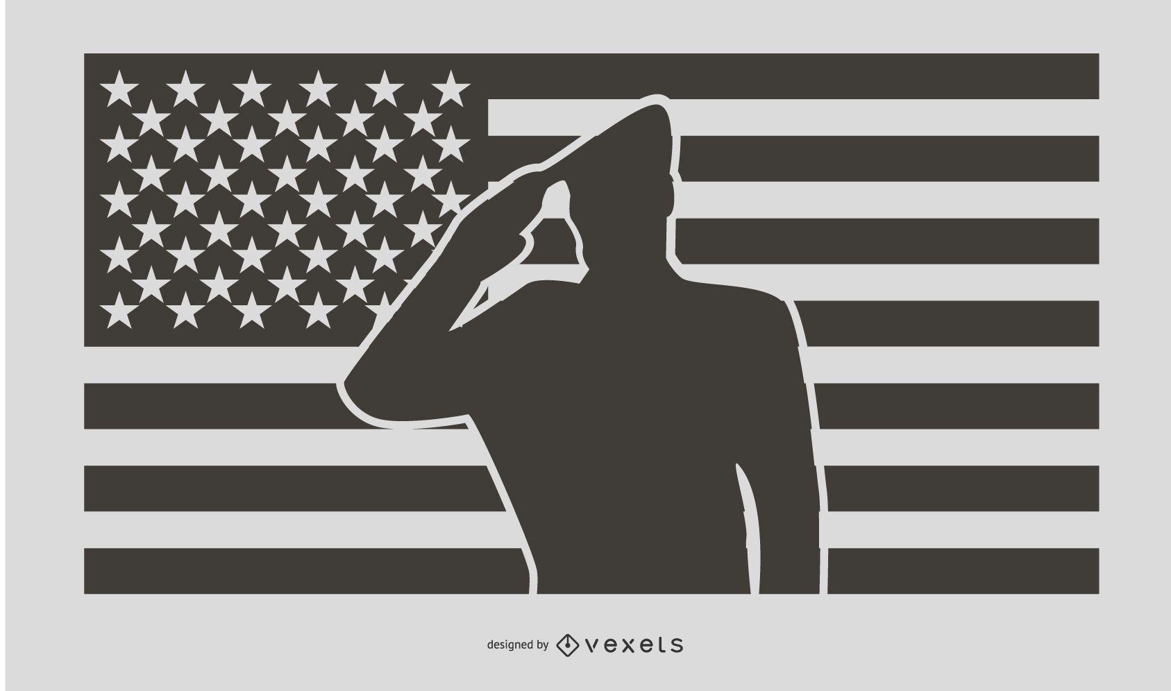 Diseño de silueta de saludo militar