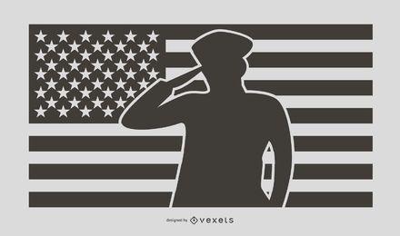 American Soldier Salute Silhouette Design