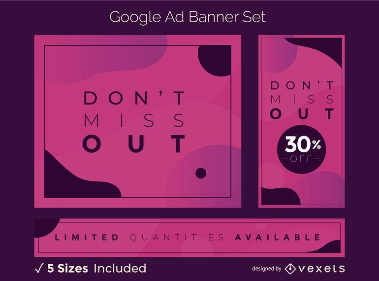 Conjunto de banner abstrato criativo do Google Ads