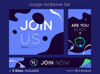 Conjunto de banners criativos do Google Ads