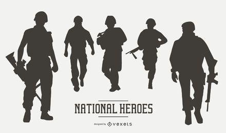 Conjunto de silueta de soldado militar estadounidense