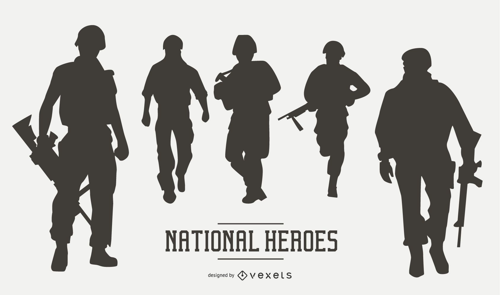 US Military Soldier Silhouette Set