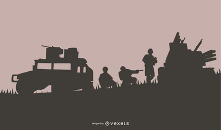 Fundo de silhueta de cena militar