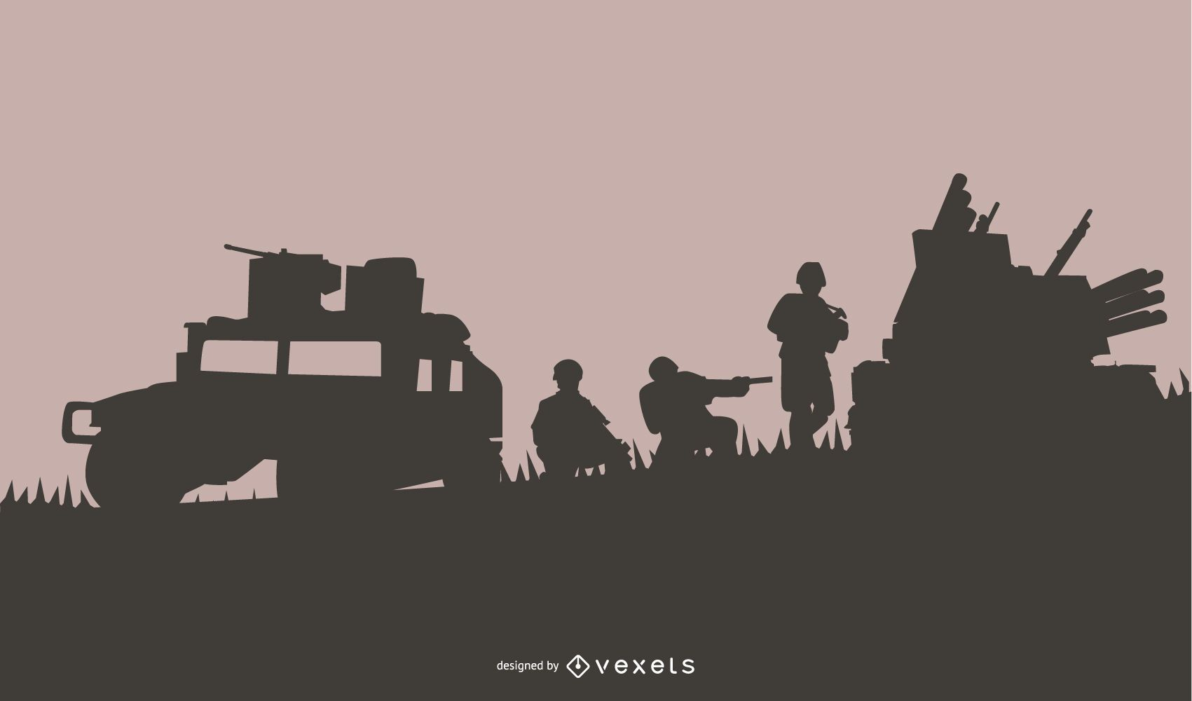 Fondo de silueta de escena militar