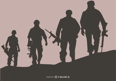 US Soldiers Silhouette Background Design