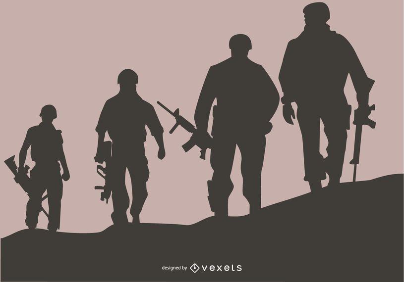 Diseño de fondo de silueta de soldados estadounidenses
