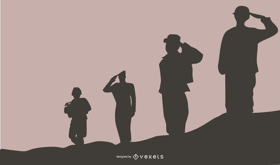 Fundo de silhueta de pessoas militares