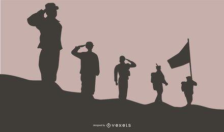 Soldados saudando o fundo da silhueta