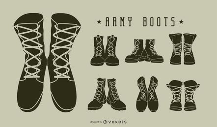 Conjunto de silhueta de botas militares