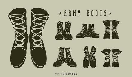 Conjunto de silueta de botas militares