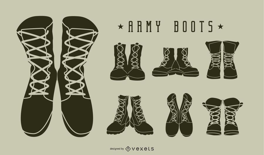 Army boots silhouette set