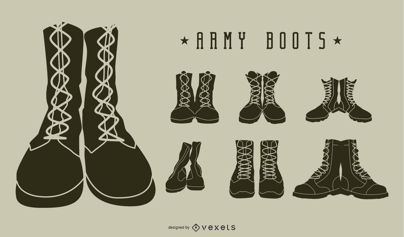 Army boots silhouette pack